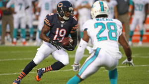 CHICAGO, IL - AUGUST 13: Eddie Royal #19 of the Chicago Bears moves against Bobby McCain #28 of the Miami Dolphins during a preseason game at Soldier Field on August 13, 2015 in Chicago, Illinois. (Photo by Jonathan Daniel/Getty Images)